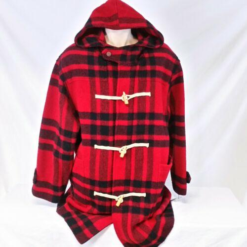 Vintage 90s Tommy Hilfiger Wool Toggle Coat Plaid Jacket Fir