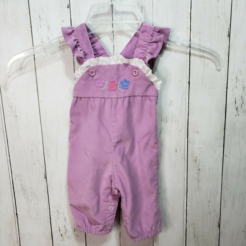 Vintage Healthtex Girl Purple Corduroy Ruffle Overalls Embroidered Size 3 Months