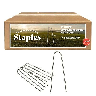 Sandbaggy - 1000 - RUST-FREE 6-Inch Landscape Staples SOD - (Special Round Pins)