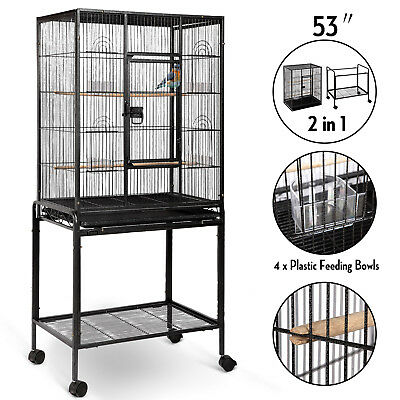 "53"" Large Parrot Bird Cage Cockatiel Lovebird Finch Feeder Stand Play Top House"