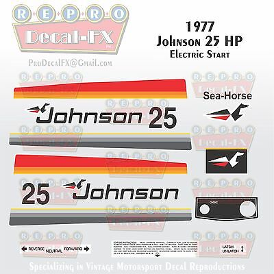 (1977 Johnson 25HP Electric Start Outboard Reproduction 17 Pc Marine Vinyl Decals)