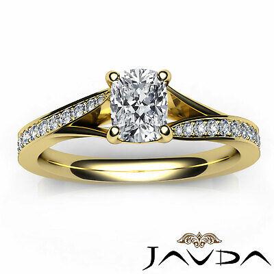 Split Shank Pave Setting Cushion Shape Diamond Engagement Ring GIA F VS1 0.68Ct 10