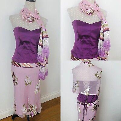 COAST Outfit 3-piece Set Corset Top/Skirt/Scarf Wedding Occasion Silk 10 Purple 3-piece Kleid Outfit