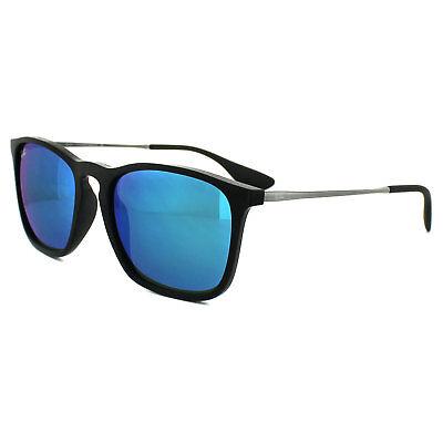 Ray-Ban Sunglasses Chris 4187 601/55 Black & Gunmetal Blue Mirror