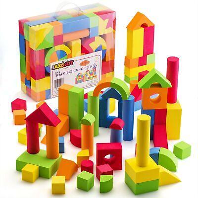 JaxoJoy Foam Building Blocks – 108 Piece EVA Foam Brick Gift Playset for Todd...