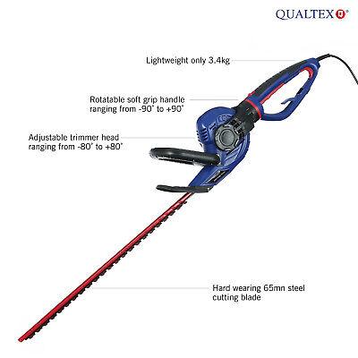 Qualtex 550W Electric Hedge Trimmer Rotating Handle & Tilting Adjustable Head