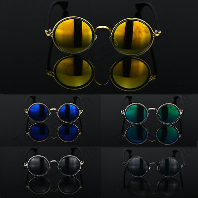 Round Metal Rim Fashion Vintage Polarized Sunglasses Glasses Retro 50s Women Men