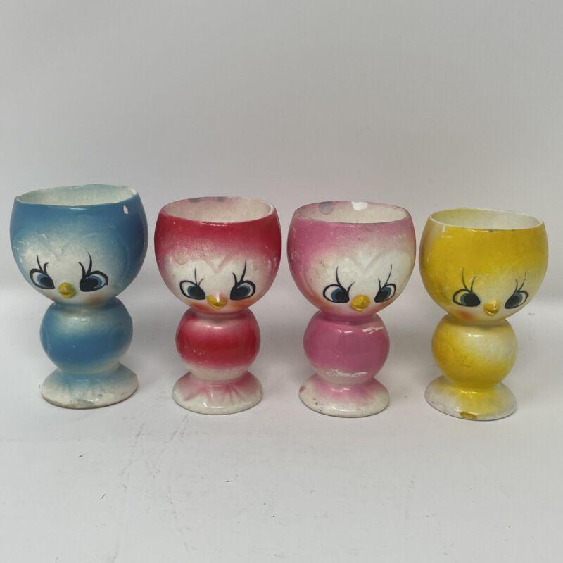 Vintage Kitsch Anthropomorphic Chick Birds Egg Cups Ceramic Japan LOT OF 4