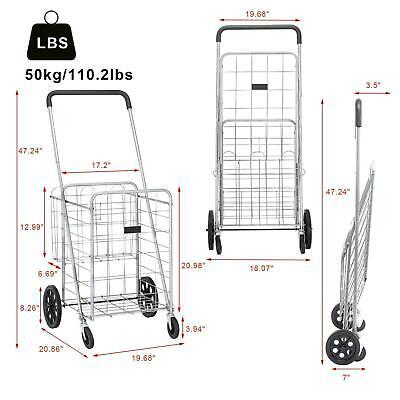 110lb Load Utility Shopping Cart Foldable Jumbo Basket Grocery Laundry Travel