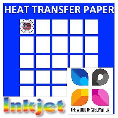 Dark Iron On Printable Heat Transfer Paper Cotton Fabrics 8.5x11 Inkjet 50 Sh