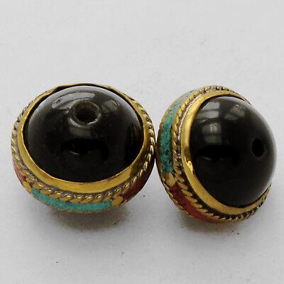 Black Onyx Turquoise Coral Brass 2 Beads Nepalese Tibetan Handmade Nepal UB2456