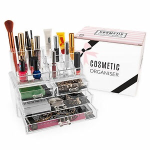 Savisto Clear Cosmetic Makeup Organiser Storage Stand with Jewellery Box Drawers