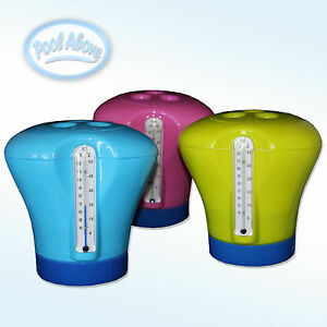 Floating Swimming Pool Chemical Chlorine Feeder 3 Tab Dispenser W Thermometer Ebay
