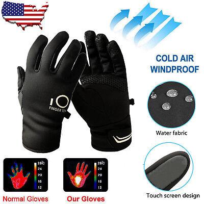 (Mens Waterproof Winter Gloves Touch Screen Womens Thermal Fleece Lined Snowboard)