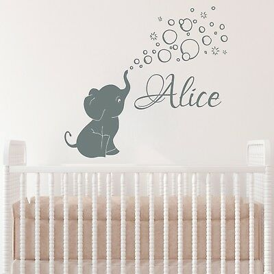 Elephant Baby Decor (Elephant Baby Girls Custom Name Wall Decal Vinyl Sticker Nursery Decor)