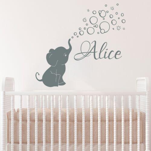 Elephant Baby Girls Custom Name Wall Decal Vinyl Sticker Nursery Decor MS906