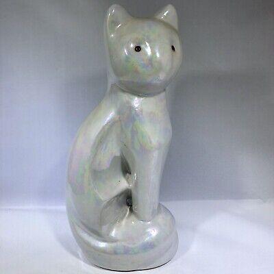 Ceramic White Iridescent Cat Figurine Statue Mid century modern Luster ware