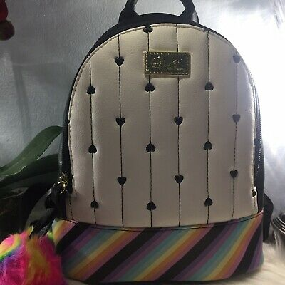 Betsey Johnson Small Backpack Rainbow & Striped Pom Pom 🌈