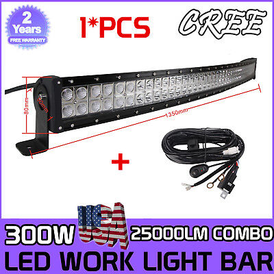 Curved 52inch 300W CREE LED Light Bar Combo Offroad Jeep Truck 4WD+Wiring Kit