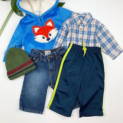 Lot Bundle Baby Boy Clothes Size 6 - 9 Months Colder Weather Jacket Jeans Hat