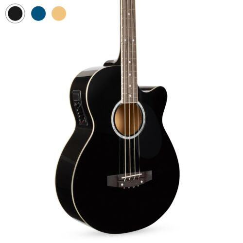 Acoustic Electric Bass Guitar - Full Size, 4 String, Fretted Bass Guitar, Black