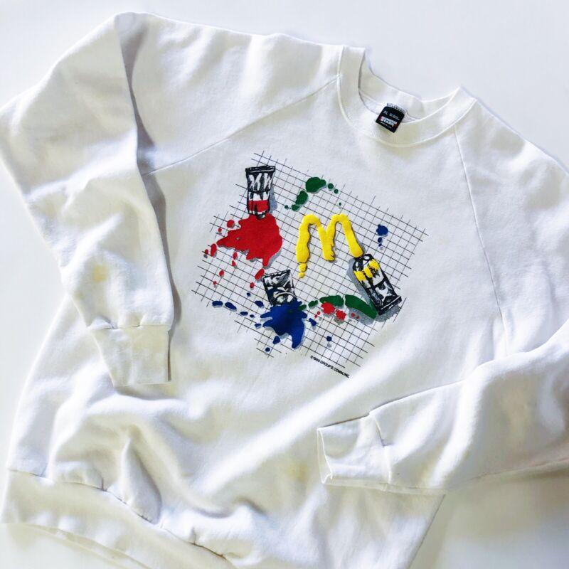Vintage 80s Mcdonalds Sweatshirt Art Paint Fast Food Crewneck Screen Stars XL