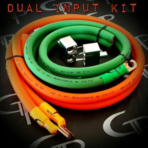 1/0 AWG GAUGE OFHC DUAL INPUT TERMINAL AMP KIT GP CAR AUDIO WIRING ORANGE GREEN