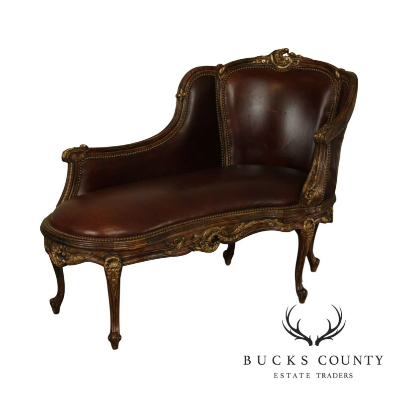 French Louis XV Style Partial Gilt Brown Leather Chaise Lounge, Recamier