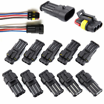 10set Car 3 Pin Way Superseal Waterproof Electrical Terminal Wire Connector Plug