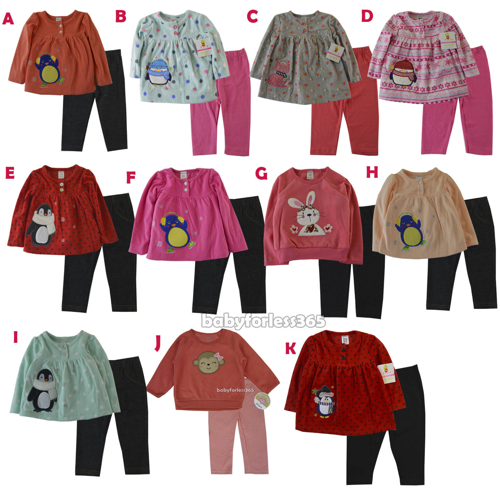 New Baby Girls Outfit Clothes 2 pc set Shirt legging Size 3 6 9 12 18 24 months