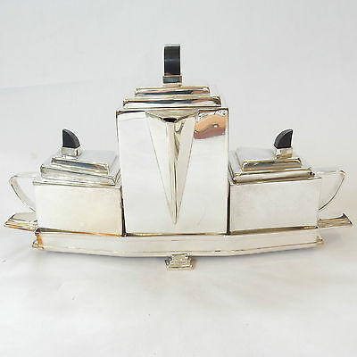Art Deco Silver Plated Christopher Dresser Ebonised Wood Tea Set Stamped