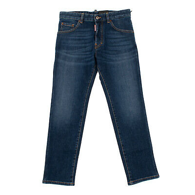 RRP €215 DSQUARED2 Jeans Size 14Y Stretch Faded Effect Logo Patch Button Fly