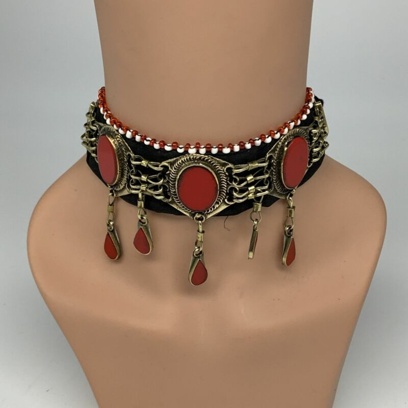 """1pc, 20-24"""" Choker Necklace Afghan Turkmen Tribal 5 Cab Red Coral Inlay Fashion,"""