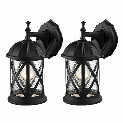 Outdoor Exterior Wall Lantern Light Fixture Sconce Twin Pack, Matte Black