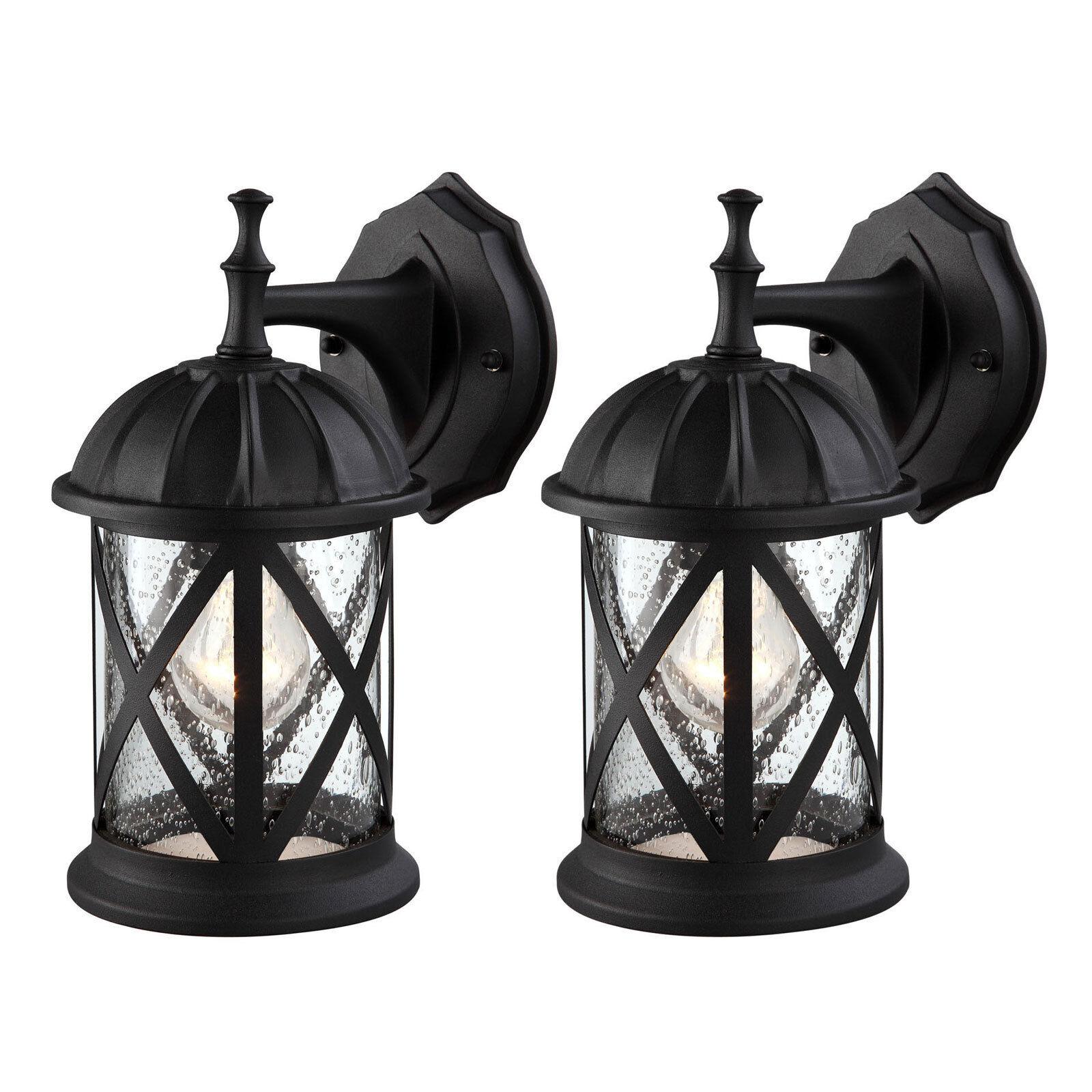 Outdoor Exterior Wall Lantern Light Fixture Sconce Twin Pack, Matte Black Home & Garden