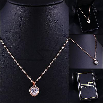 Halskette & Anhänger Herz, Kette Damen, Roségold, Swarovski® Kristalle, im Etui