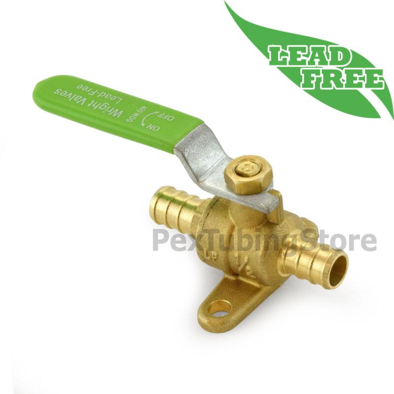 "(10) 1/2"" PEX Lead-Free Brass Ball Valves w/ Drop Ears, Full Port, Crimp Style"