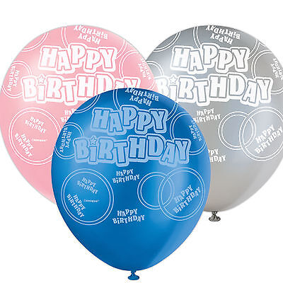 6 Happy Birthday Sparkle Pink Blue Black 6 Assorted Party Latex 12