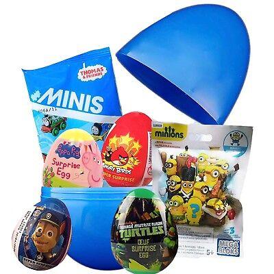 "Jumbo 8"" PLASTIC SURPRISE EGG W/6 Surprise, Peppa Pig,Thomas, Paw Patrol,Minions (Jumbo Plastic Egg)"