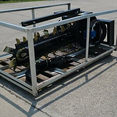 New Hydraulic Trencher Skid Steer Digging Attachment 48 Chain Scorpion Dbl Cup