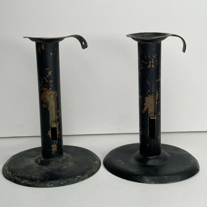 2x Vintage Copper Candlesticks Painted Black by Robinson Waltham, Mass