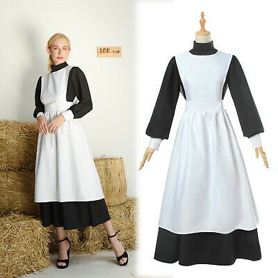 Women Ladies Colonial Renaissance Pioneer Fancy Dresses Maid Cosplay Costumes - Womens Colonial Dress