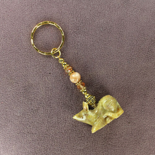 RAT SOAPSTONE CHARM KEY CHAIN Ring Totem Success Symbol Animal Mouse Pet Rodent