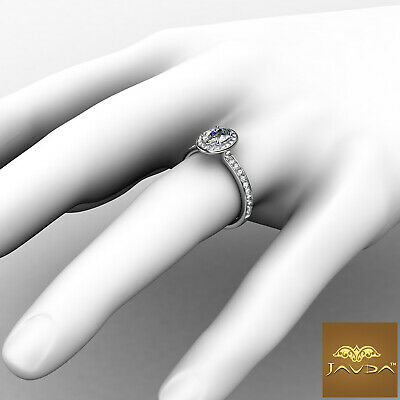 Halo Pave Set Cathedral Oval Cut Diamond Engagement Ring GIA F Color SI1 0.95Ct 3