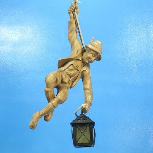 Vtg German Black Forest Wood Carved MOUNTAIN CLIMBER Chandelier Lamp
