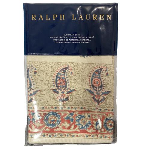 Ralph Lauren Islesboro Fernhill Paisley Euro Pillow Sham $215 NIP 26×26 Bedding
