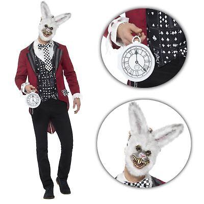 Adult Mens Evil White Rabbit March Hare Easter Wonderland Halloween (Mens White Rabbit Kostüme)