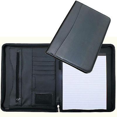 A4 Conference Folder Zipped Folio Case Leather Business Portfolio Organiser