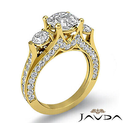 4 Prong Setting 3 Stone Oval Diamond Engagement Cathedral Ring GIA H SI1 2.3 Ct 7