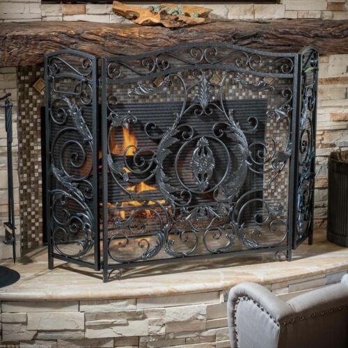Waterbury Traditional Iron Fireplace Screen, Silver on Black Fireplace Screens & Doors